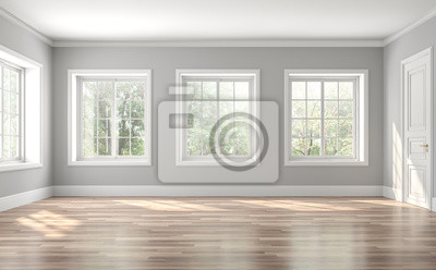 Sticker Classical empty room interior 3d render,The rooms have wooden floors and gray walls ,decorate with white moulding,there are white window looking out to the nature view.