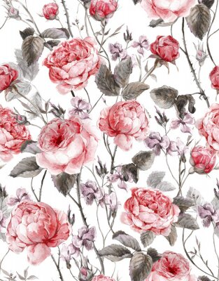 Sticker Classical vintage floral seamless pattern, watercolor bouquet of