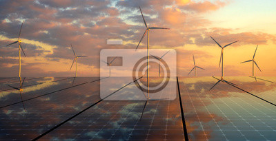 Sticker clean energy concept, photovoltaic panels and wind turbines in the light of the rising sun