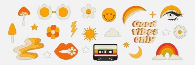 Sticker Clipart of the 70s. Hippie style. Vector illustrations in simple linear style. Rainbows, flowers, abstractions, mushrooms, psychedelic style.