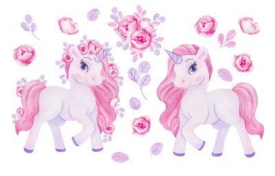 Sticker Clipart with watercolor hand draw unicorn and flowers