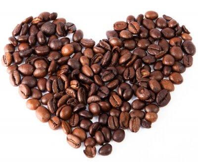 Sticker Close-up Herz aus natürlichen braun gebratenen Kaffee gemacht