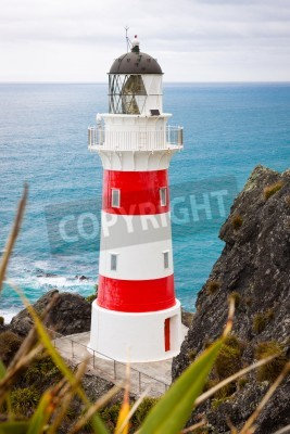 Sticker Close-up von einem schönen Leuchtturm am Cape Palliser, Nordinsel, Neuseeland