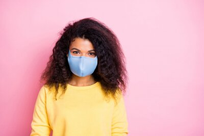 Sticker Closeup photo of pretty attractive trend modern hipster person wear pastel color jumper facial quarantine safety cotton mask having good mood isolated background