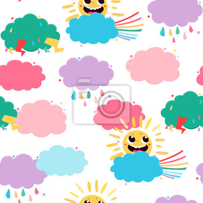 Cloud shaped speech bubbles. Colored vector seamless pattern