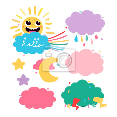 Cloud shaped speech bubbles. Colored vector set. All elements are isolated