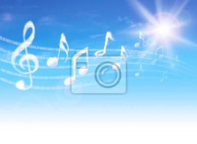 Clouds Musiknoten auf blauen Himmel mit Wolken und Sonne.