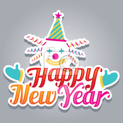 Clown mit frohes neues Jahr Text