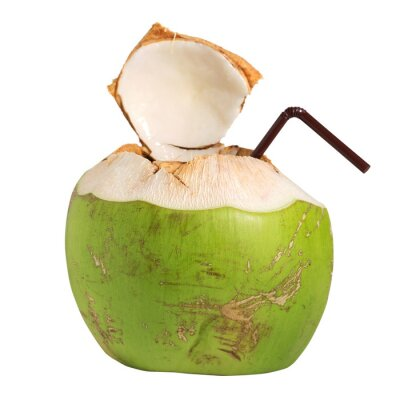 Sticker Coconut water fruit drink isolated on white