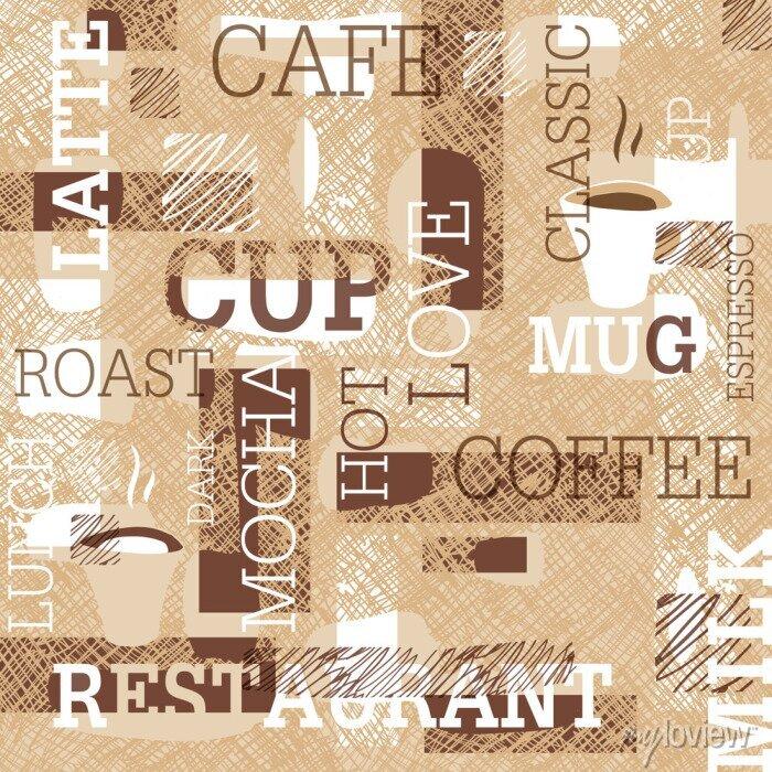 Sticker Coffee Themed Nahtlose Muster. Worte, Tassen Kaffee und kreative Gekritzel. Beige und braune Farbpalette. Zusammenfassung Hintergrund für Café oder Restaurant Marke Design.