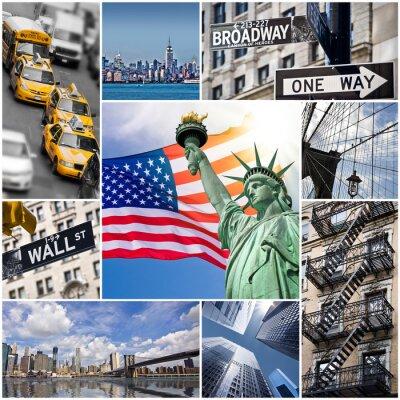 Sticker Collage carré New York - USA