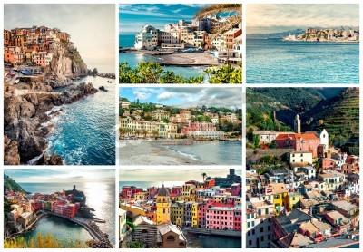 Sticker Collage der berühmtesten Wahrzeichen in Italien. Italienische Riviera-Genua, Manarola, Vernazza, Bogliasco, Santa Margherita.