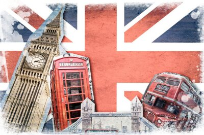 Sticker Collage Londres Union Jack Vintage