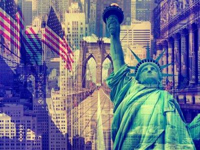 Sticker Collage mit mehreren New Yorker Wahrzeichen