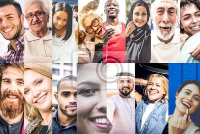 Sticker Collage mit Menschen aus der Welt