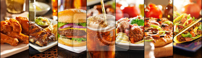 Sticker collage of american style restaurant foods
