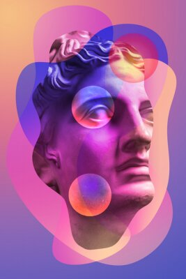 Sticker Collage with plaster antique sculpture of human face in a pop art style. Creative concept image with ancient statue head in pastel colors. Zine culture. Contemporary art style poster. Apollo bust.