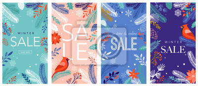 Sticker Collection of abstract background designs, winter sale, social media promotional content. Vector illustration
