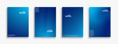 Sticker Collection of blue digital contemporary covers, templates, posters, placards, brochures, banners, flyers and etc. Abstract striped futuristic backgrounds with gradient. Halftone technology design