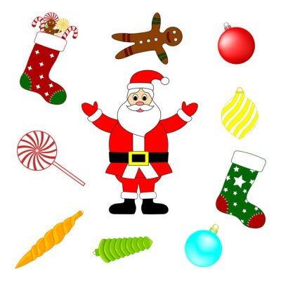 Collection of Christmas Elements. Set of New Year Traditional Symbols. Vector Illustration for Your Design.