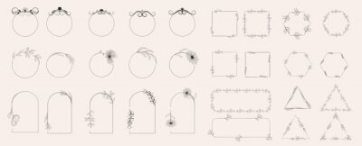 Sticker Collection of geometric vector flower frames. Round, oval, triangular, square borders decorated with hand-drawn delicate flowers. Trendy Line drawing, lineart style. Vector illustration