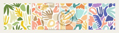 Sticker Collection of modern abstract seamless patterns with natural colorful shapes or blots on white background. Trendy motley vector illustration in flat style for wrapping paper, textile print, wallpaper.