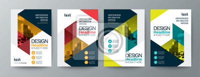 Sticker collection of modern design poster flyer brochure cover layout template with triangle graphic elements and space for photo background