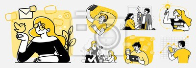Sticker Collection of scenes at office. Bundle of men and women taking part in business meeting, negotiation, brainstorming, talking to each other. Outline vector illustration in cartoon style.