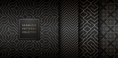 Sticker Collection of seamless geometric golden minimalistic patterns. Simple vector graphic black print background. Repeating line abstract texture set. Stylish trellis gold square. Geometry web page fill.
