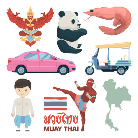 Collection of thailand landmarks and different traditional symbols