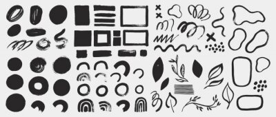 Sticker Collection of vector grunge elements, brush strokes, paint spots, lines and abstract shapes. Black ink stains isolated on white. Minimalistic design elements in hand painted style.