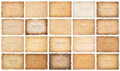 Sticker collection set old parchment paper sheet vintage aged or texture isolated on white background.