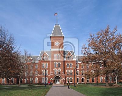 Sticker college building in fall