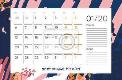 """Color calendar grid with month name,  motivation phrase """"be an original not a copy"""" on abstract background. Monthly printable organizer start from Monday for January 2020. Vector planner for work."""