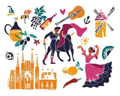 Color Set of symbols of Spain, flamenco dancer, wine, olive oil, mill, fan for tourist posters t-shirts or Souvenirs painted by hand. Vector cute cartoon illustration