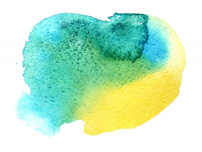 Color watercolor blurred spot of paint on a white background. Blue, yellow, and green flow. Background for wedding invitations, cards, greetings. The concept of a spring banner. Cute illustration