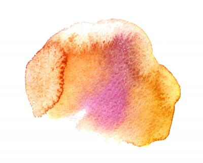 Color watercolor blurred spot of paint on a white background. Orange and maroon flow. Background for wedding invitations, cards, greetings. The concept of a spring banner. Cute illustration