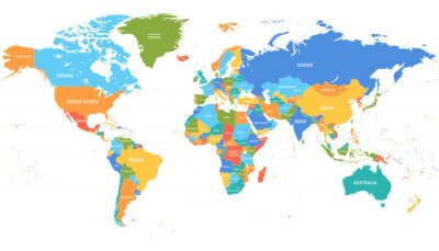 Sticker Colored world map. Political maps, colourful world countries and country names. Geography politics map, world land atlas or planet cartography vector illustration