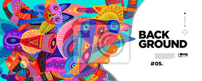 Sticker Colorful Abstract Banner Template with Dummy Text for Web Design, Landing page, and Print Material.