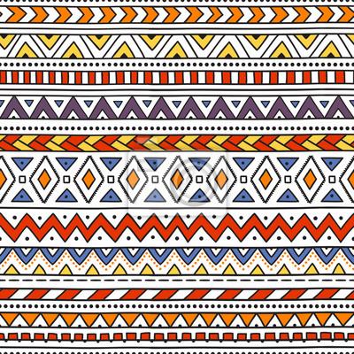 Sticker Colorful ethnic seamless pattern. Horizontal striped pattern. Handmade. Vector illustration. White background. Red, orange, blue, yellow, purple.