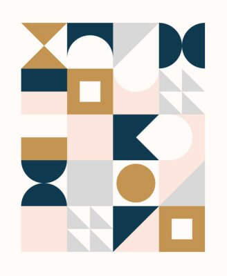 Sticker Colorful geometric pattern in Scandinavian style. Minimal geometric shapes compositions.
