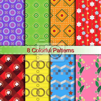 colorful stylish pattern collection for making seamless wallpapers, pattern swatches included