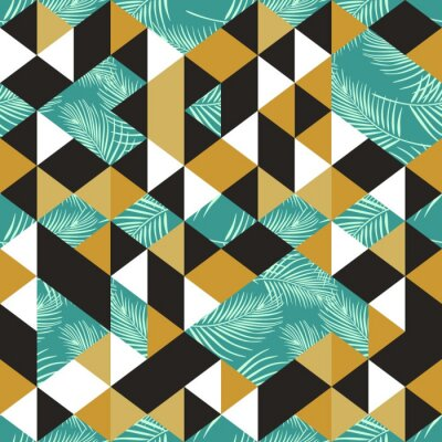 Colorful trendy seamless pattern with triangle exotic palm