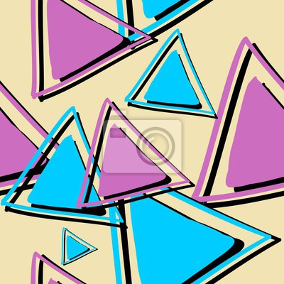 Colorful triangle abstract hand drawn multicolor pattern