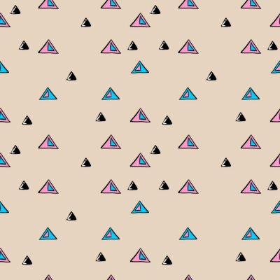 Colorful triangle hand drawn abstract pattern