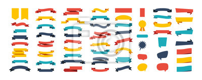Sticker Colorful Vector Ribbon Banners. Set of Ribbons Banners with Label, Tag and Quality Badges. Banners set and colorful Ribbon, isolated on white background. Ribbon Banner in modern simple flat design