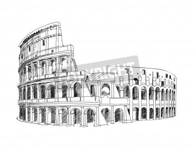 Colosseum in Rome, Italy  Landmark of Coliseum, hand drawn illustration  Rome city landscape