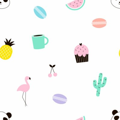colourful seamless pattern with cute summer objects, flamingo, cactus, pineapple, sweets, panda, cherry, flat vector design