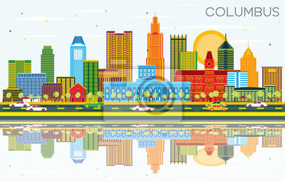 Columbus Ohio City Skyline with Color Buildings, Blue Sky and Reflections.