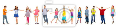 Sticker Combination of boys and girls isolated on white